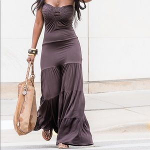 SKY Brown Indice Long Dress